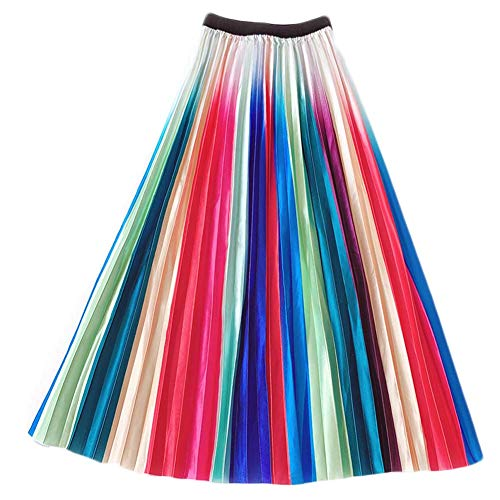 (Ninmon Shares Women Summer Flared Elastic Waist Lace Mesh A-line Midi Skirt)
