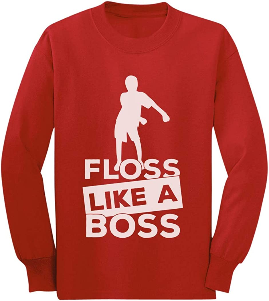 Floss Like a Boss Funny Emote Flossing Dance Youth Kids Long Sleeve T-Shirt