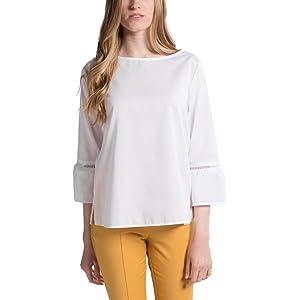 409c72a4f9efc1 eterna Damen Bluse Modern Fit Langarm weiß Uni ohne-Kragen, 00, 40 ...