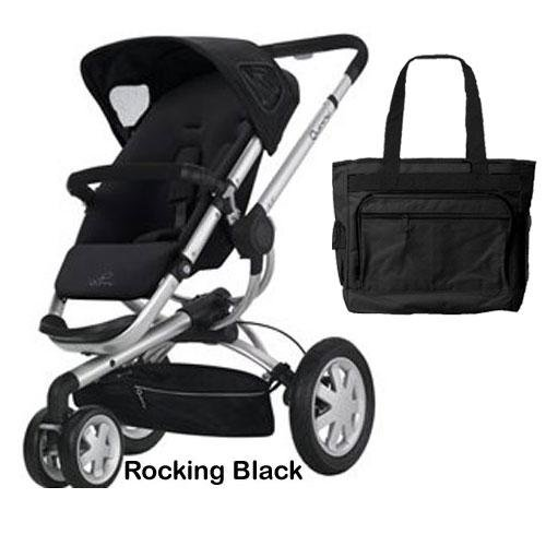 Quinny CV155RBKIT1 Buzz 3 Stroller - Rocking Black With a Diaper Bag