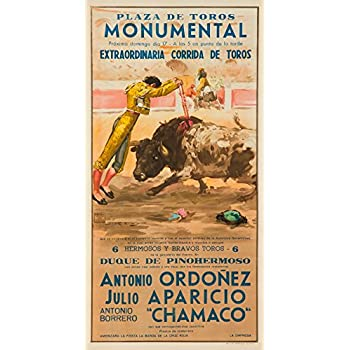 Plaza de Toros Monumental - Ordonez - Aparicio - Chamaco Vintage Poster (artist: Reus) Spain c. 1957 (24x36 SIGNED Print Master Giclee Print w/ Certificate ...