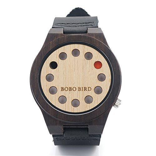 BOBO pajaro AM074 asimétrico de los hombres 12 relojes diseño de agujeros de madera de bambú con banda de cuero