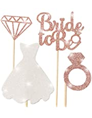 Bridal Shower Cupcake Topper, Sparkling Glitter Rose Gold Bride To Be, Diamond Ring, Wedding Dress Cupcake Toppers for Engagement Wedding Bachelorette Party Bridal Shower … (1)