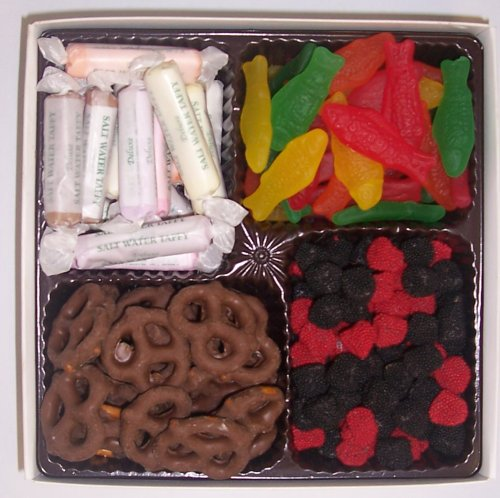 Scott's Cakes Large 4-Pack Salt Water Taffy, Chocolate Pretzels, Swedish Fish, & Raspberries and Blackberries