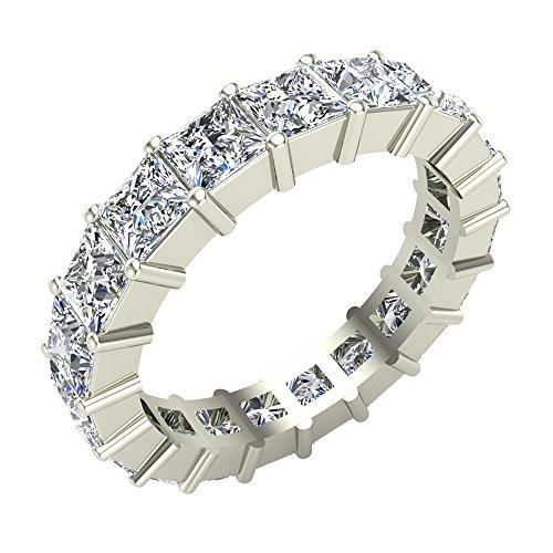 (Princess Cut Eternity Diamond Wedding Band 3.40 Carat Total Weight 14K White Gold (Ring Size 5))