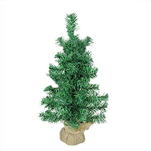 "Northlight 18"" x 9.5"" Mixed Green Pine Artificial Christmas Tree in Burlap Base - Unlit 18"