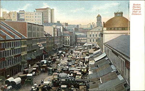 Boston Market, Faneuil Hall in Distance Boston, Massachusetts Original Vintage - Market Faneuil