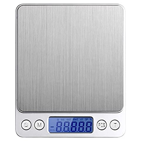 Digital Kitchen Scale, 1000g/0.1g Digital Food Scale with Backlit LCD Display Stainless Steel and Backlit LCD