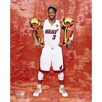 (20x24) Dwyane Wade 2 NBA Championship Trophies Miami Heat Photo