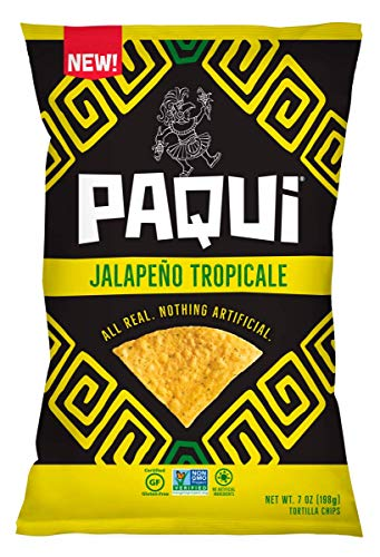 Paqui Tortilla Chips, Gluten Free Chips, Non-GMO, Flavored, Jalepeno Tropicale, 7.0oz (Pack of 5) ()