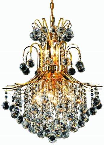 Elegant Lighting 8002D22G RC Toureg 26-Inch High 11-Light Chandelier, Gold Finish with Crystal Clear Royal Cut RC Crystal