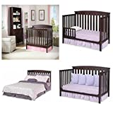 New 4 in 1 Convertible Baby Crib Mattress Toddler Nursery Bed Changer Side
