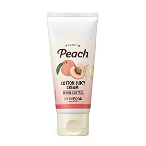 SKIN FOOD Premium Peach Cotton Juicy Cream Sebum Control 60ml - Peach Extract & Calamin Powder Contained Sebum Control Moisturizing Cream for Oily Skin, Skin Soothing Day Facial Cream