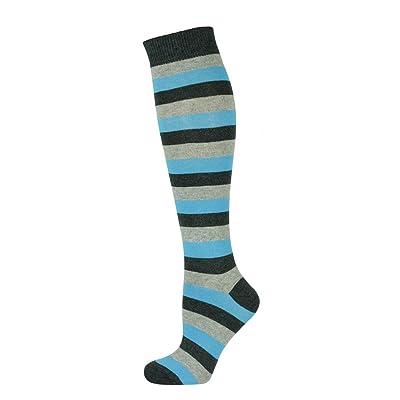 Mysocks Knee High Long Socks Stripe Turquoise Ash Anthracite at Women's Clothing store
