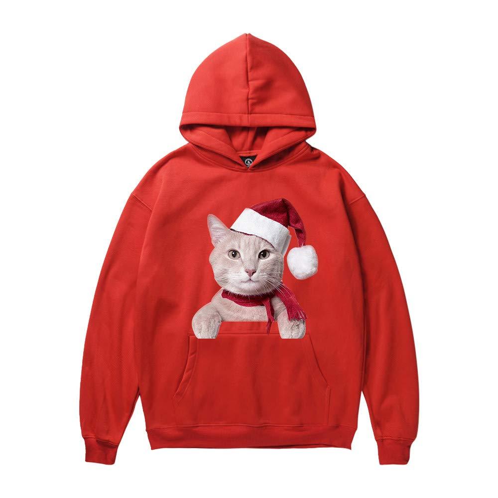 Naladoo Men Women Fashion Christmas Animal Cat Printed Casual Sweatshirt Hoodie