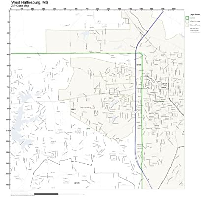 Hattiesburg Ms Zip Code Map.Amazon Com Zip Code Wall Map Of West Hattiesburg Ms Zip Code Map