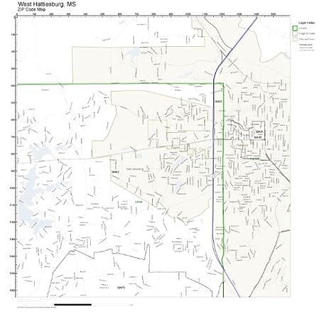 Amazon.com: ZIP Code Wall Map of West Hattiesburg, MS ZIP Code Map ...