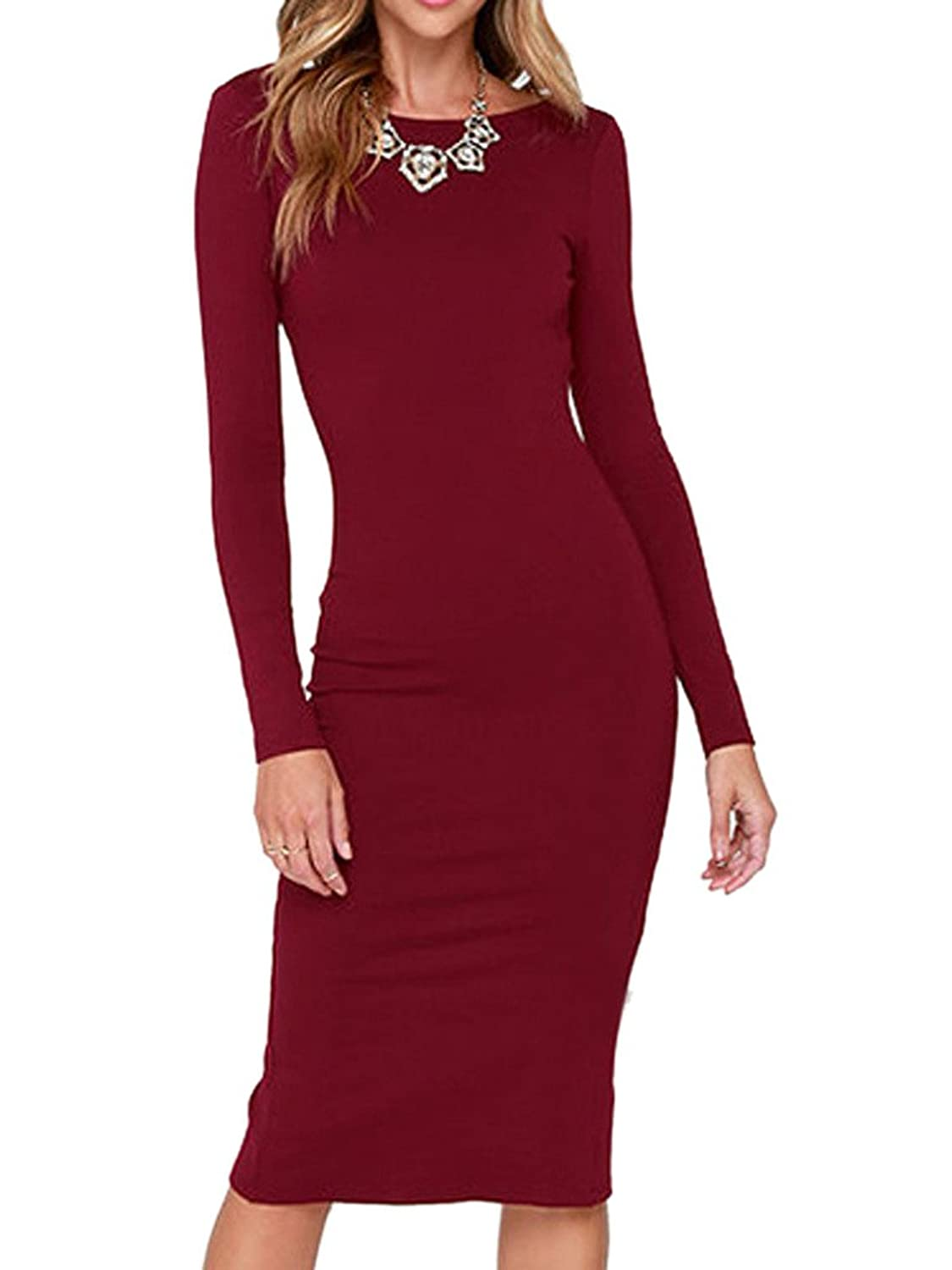 Clothink Women Black/Wine Red Long Sleeve Backless Split Bodycon Evening Dress
