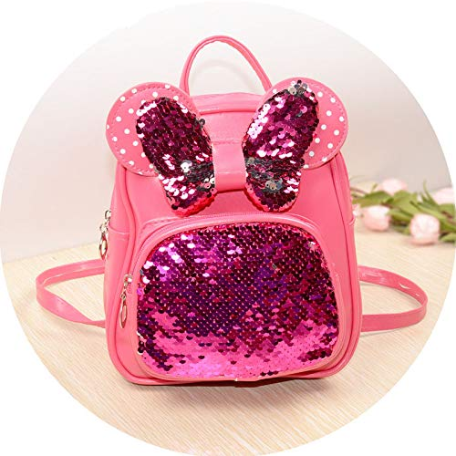 NEW Sequins Backpacks For Teenager Girls PU Shine Bowknot Backpack Glitter Large Girls Travel Shoulder Bags School Bags rose -