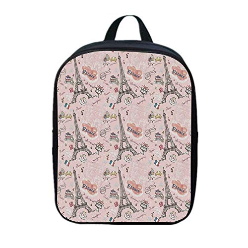 Paris Versatility Backpack,Romantic Elements from the Capital City of the France Croissant Muffin Macaroon Paris Decorative for Trips,One_Size