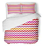 Emvency 3 Piece Duvet Cover Set Brushed Microfiber Fabric Breathable Yellow Kids Chevron Colorful with Zig Zag Red Purple Pink and Orange Stripes Bedding Set with 2 Pillow Covers Full/Queen Size