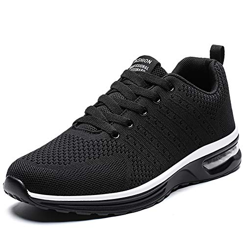 Running Shoes for Women Lightweight Breathable Cross Training Gym for Exercise Air Cushion Athletic (8, Black)
