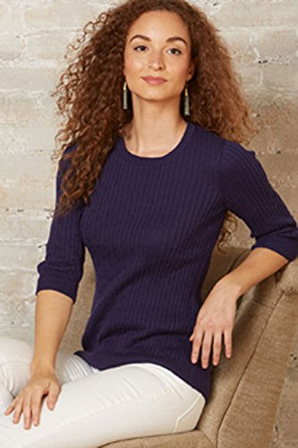 Fair Indigo Fair Trade Organic 3/4-sleeve Cable Crew Sweater