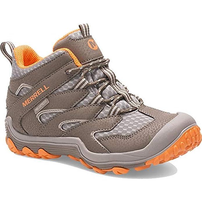 Merrell Chameleon 7 Access Mid Waterproof Hiking Boot, GUNSMOKE/ORANGE, 7 US Unisex Big Kid