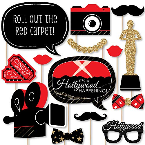 (Big Dot of Happiness Red Carpet Hollywood - Movie Night Party Photo Booth Props Kit - 20)
