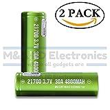 IMREN Green Series IMR 21700 High Drain 4800mAh Li-ion 10A / 30A 3.7V Rechargeable Flat Top Battery, (2 Pack) by M&A BD Electronics