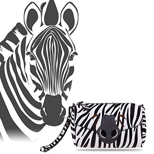 Straps Animal Handbag Print Zebra Sixteen18 Safari Womens 3 Purse Boxy Detachable w OFwxAvqUW