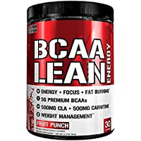 Evlution Nutrition BCAA Lean Energy - Energizing Amino Acid For Muscle Building Recovery And Endurance With A Fat Burning Formula 30 Servings (Fruit Punch)
