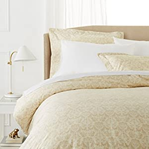 Pinzon Paris Printed Egyptian Cotton Sateen Duvet Set - Full/Queen, Eggshell