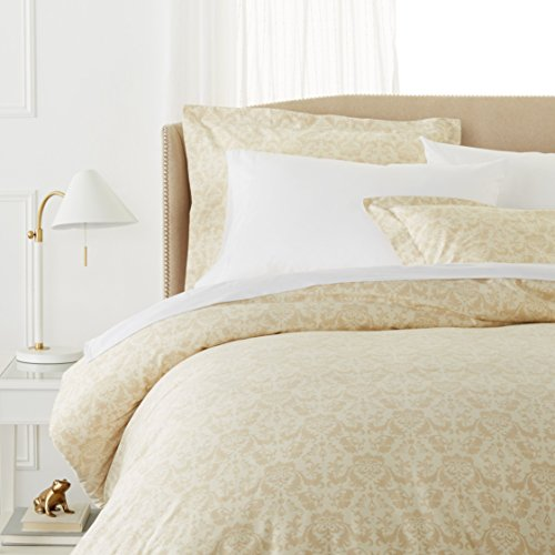 Pinzon Paris Printed Egyptian Cotton Sateen Duvet Set - King, Eggshell (Paris Covers Duvet)