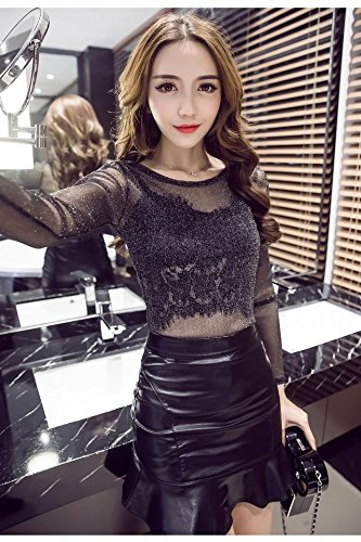 b749787a1d08b Amazon.com : Korean version new fall light mature sexy ladies perspective  shirt + PU leather skirt skirts two-piece for women girl : Beauty