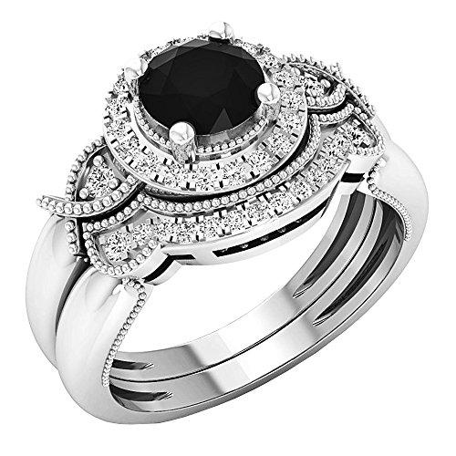 Dazzlingrock Collection 1.10 Carat (ctw) 10K Round Black & White Diamond Ladies Engagement Ring Set 1 CT, White Gold, Size 7 ()