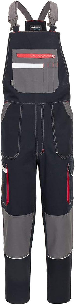 Ultraflex Pettorina Salopette Tuta A50228 da Lavoro Uomo Donna Misto Cotone rischi Minimi Protezione renale Bretelle Elasticizzate Doppia Tasca al Petto Chiusura Zip Porta Badge Blu