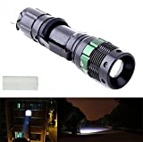 1Pcs Classical Popular 3000 Lumen LED Flashlight Aluminum Alloy Zoom Lamp Light Adjustable Focus Color Black
