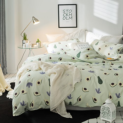 LELVA 4 Piece Printing Pattern Duvet Cover Sets Kids Bedding for Boys and Girls Cotton Avocado Printed (Fitted Sheet Set, Full)