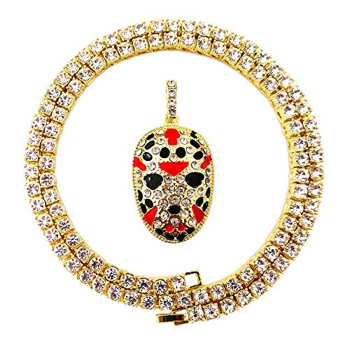 - HH Bling Empire Mens Hip Hop Bling Iced Out 14K Gold Artificial Diamond Cartoon Characters cz Tennis Chain Necklace 22 Inch (Jason Mask-Gold)