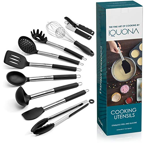 Cooking Utensils Set by IQUONA – Stainless Steel and Silicone Kitchen Utensil Set – Black Tools and Gadgets – Heat Resistant Spoons – Nonstick Spatulas Set Works with Ceramic and Metal Cookware