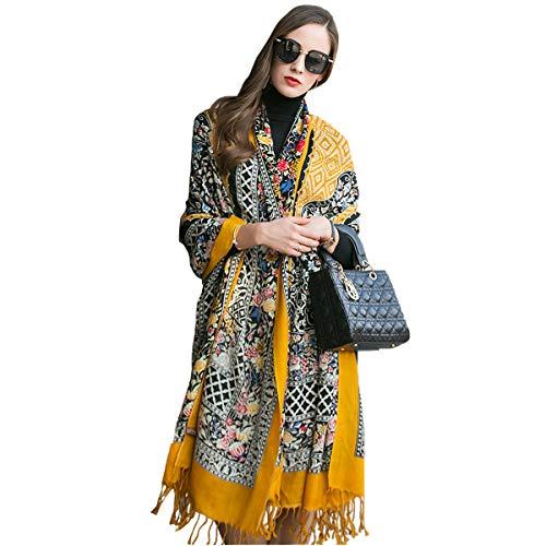 - DANA XU 100% Pure Wool Women Winter Large Scarf Pashmina (Yellow)