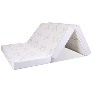 "6/"" Full Size Tri-Folding Memory Mattress Sofa Bed Guests Floor Mat W// Carry Bag"