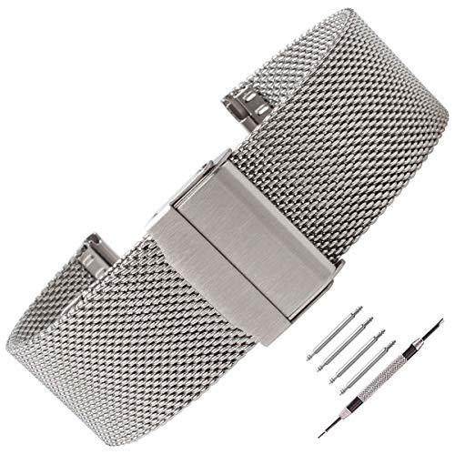 Weelovee Milanese Mesh Stainless Steel Watch Band 16mm Safety Clasp Watch Strap Wristband for Mens Women Adjustable Length,Repair Tools Included Silver (Womens 16mm Watch Band)