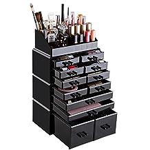 Readaeer Makeup Cosmetic Organizer Storage Drawers Display Boxes Case with 12 Drawers (Black)