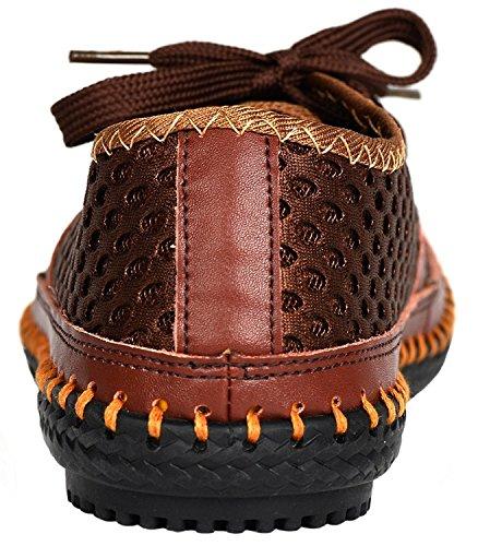 Herobest Mens Mesh Water Shoes Outdoor Leggero Quick Dry Walking Shoes Caffè