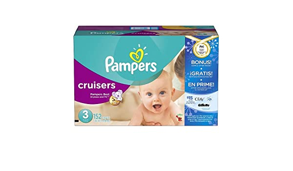 Amazon.com: Pampers Cruisers Baby Diapers Super Economy Pack Plus Bonus Sample Offer (Size 3 - 152 Count): Health & Personal Care