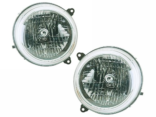 Headlights Depot Replacement for Jeep Liberty Headlights OE Style Replacement Headlamps Driver/Passenger Pair New (2002 Jeep Liberty Headlight)