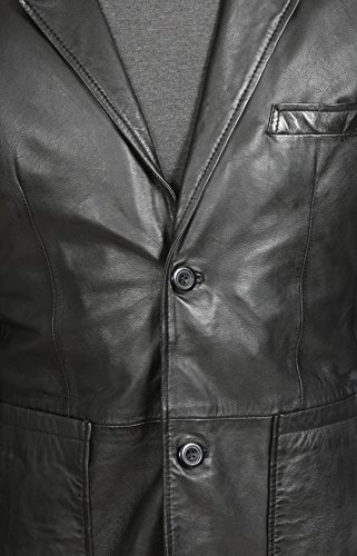 Bottoni Attrezzato Tasca Nero Sammy Giacca Blazer In Toppa Classica Due Uomo Pelle Del Vera q70zcw0OX