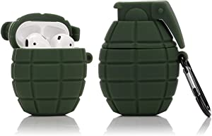 LEWOTE Silicone Case Compatible for Apple Airpods 1&2 Funny Cover[Cool Grenade Design][Best Gift for Kids Boys Girls] (Army Green)